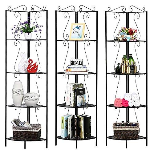Topeakmart 4 Tier Multipurpose Corner Shelf Metal Scroll Design Bookcase Display Iron Art Storage Shelves 69.9''H for Bathroom Living Room Bedroom, (Metal Scroll Bathroom Organizer)