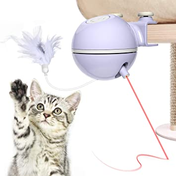 DADYPET Juguetes para Gatos interactivos,Electrónico Juguete Gato, 2 en 1 Giratorio de 360 Grados con Bola y Plumas Juguetes Gatos,USB Recargable: Amazon.es: Productos para mascotas