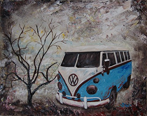 Vintage Blue Volkswagen Bus, Artist signed PHOTO PRINT, 11 x 14