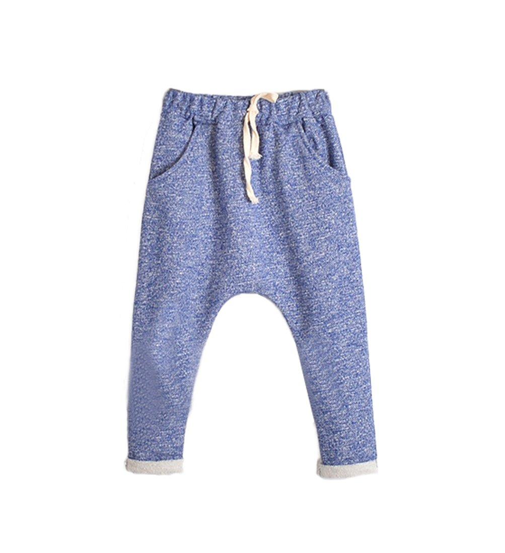 Little Boys & Girls Drop Crotch French Terry Cotton Pants 6 Active Colors (5, Blue)