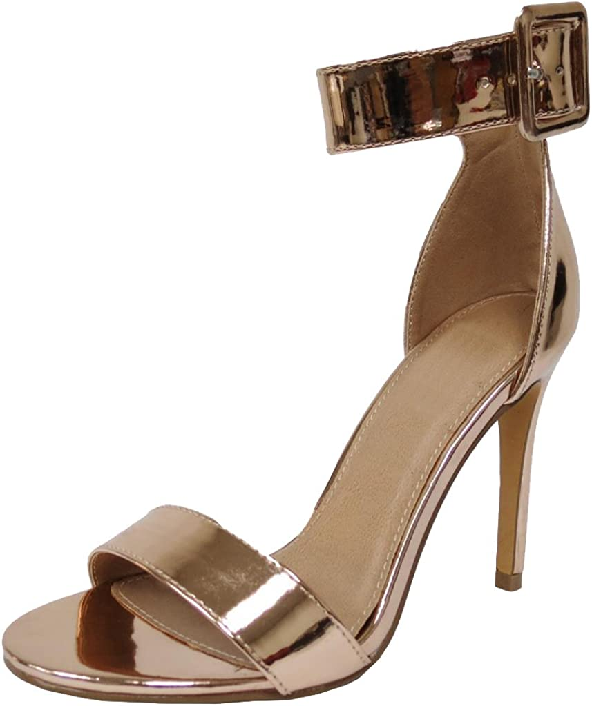 Cambridge Select Women's Open Toe Single Band Thick Buckled Ankle Strappy Stiletto High Heel Sandal
