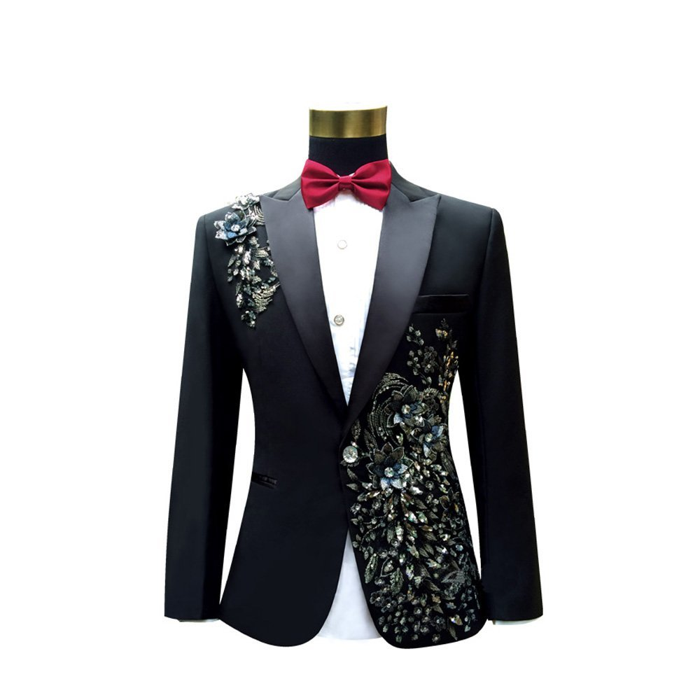 Cloudstyle Mens Peak Lapel One-Button Wedding Party Blazer Jacket and Pants, Medium, Black 1