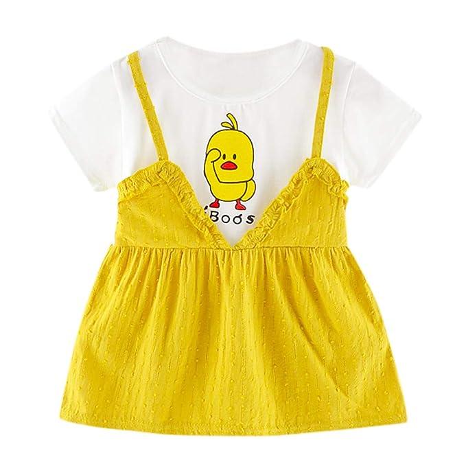 f9f35ec62 PAOLIAN Vestido Tirantes para Bebé Niña Fiesta Verano 2019