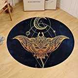 Gzhihine Custom round floor mat Psychedelic Mystic Alchemy Symbol Hidden Sign of Universe Holy Science Artful Image Bedroom Living Room Dorm Petrol Blue Apricot Earth Yellow