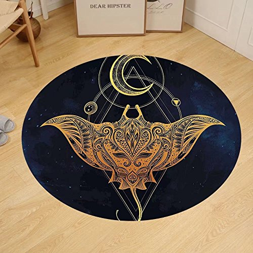 Gzhihine Custom round floor mat Psychedelic Mystic Alchemy Symbol Hidden Sign of Universe Holy Science Artful Image Bedroom Living Room Dorm Petrol Blue Apricot Earth Yellow by Gzhihine