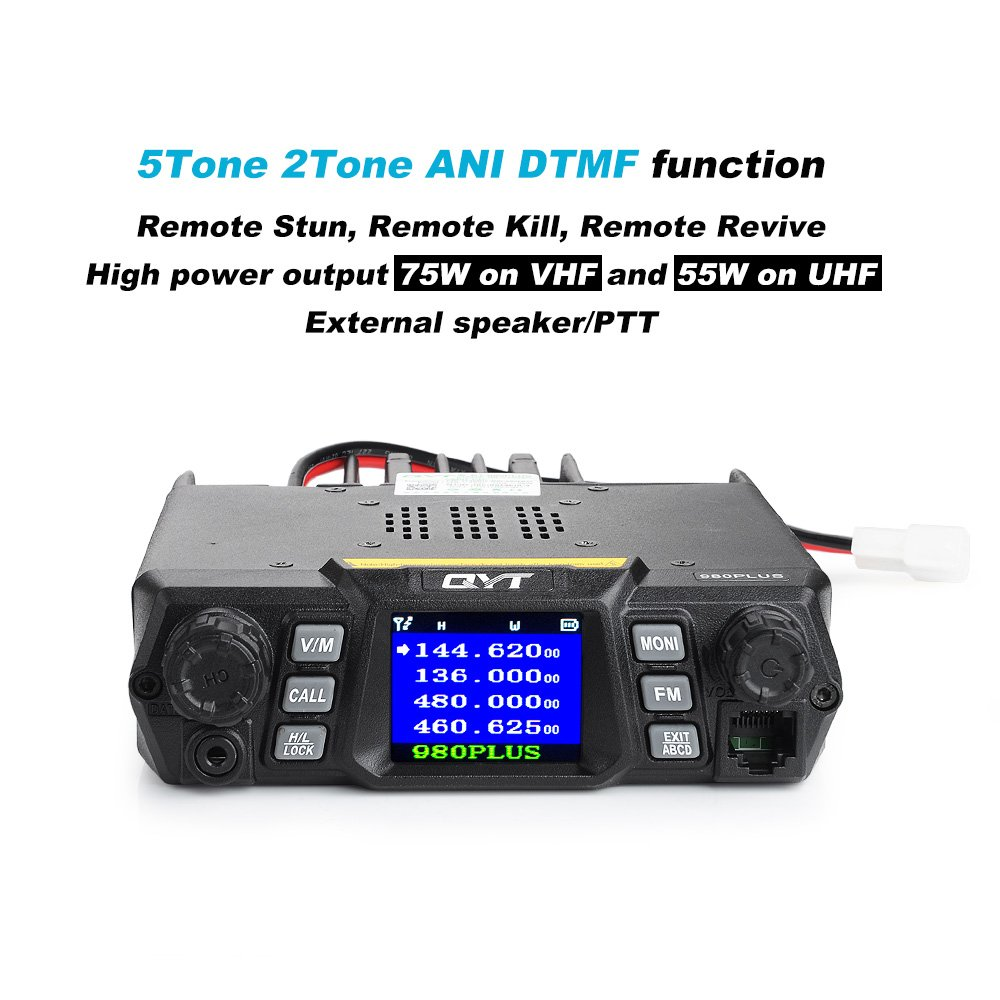 QYT 980 Plus 75W VHF 55W UHF Dual Band Quad Standby Colorful Screen Compact Car Transceiver+Programming Cable-Lightwish
