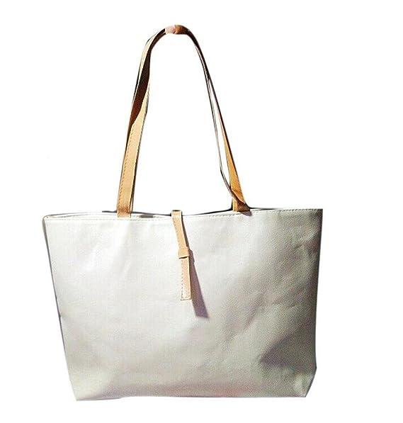 7d59f5fa2 LuckES Moda Chicas Bolsos Bandolera de Cuero Flores Mujeres Tote Hombro  Mujer Bandolera Piel Shoppers de Pequeña Niña (Beige): Amazon.es: Ropa y  accesorios