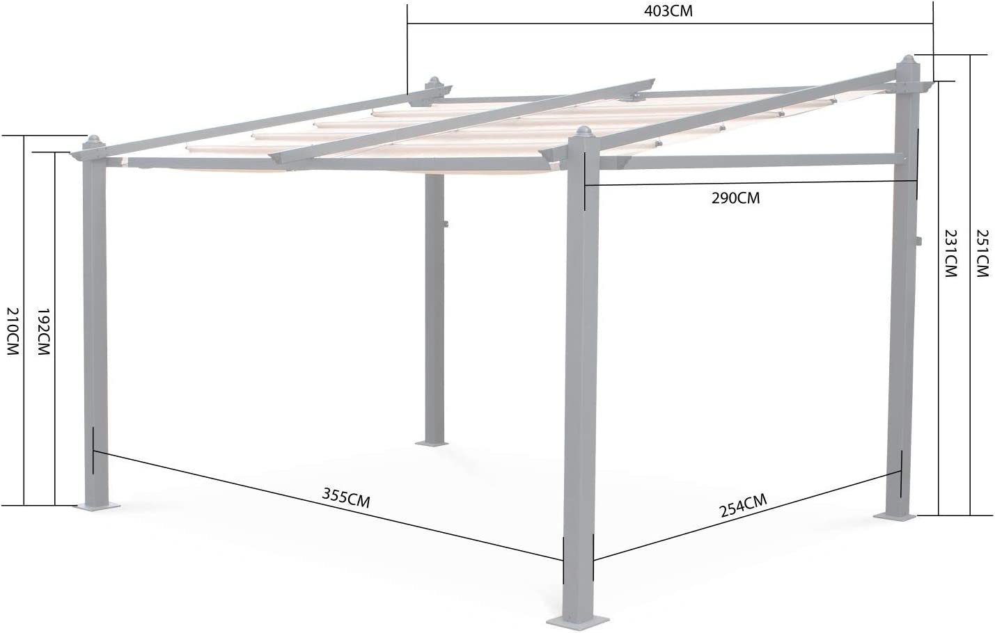 Alices Garden - Pergola de Pared, Aluminio, Ecru, 3x4m, Murum: Amazon.es: Jardín
