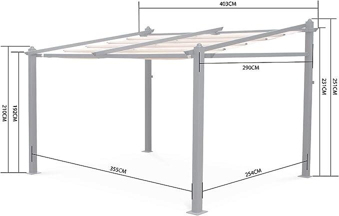 Alices Garden Pergola de Pared, Aluminio, Gris, 3x4m, Murum