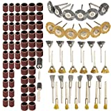 Rocaris 98pcs Brass Steel Wire Brushes Polishing Wheels Full Set Sand Drum with Mandrel kit for Rotary Abrasive Tools Woodworking DYI