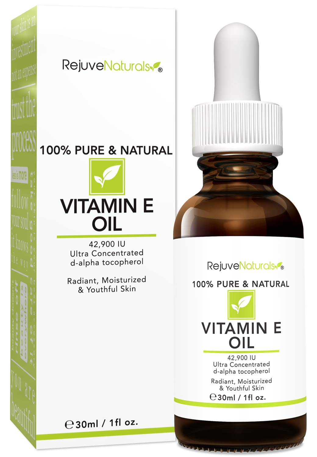 Vitamin E Oil - 100% Pure & Natural, 42,900 IU. Visibly Reduce the Look of Scars, Stretch Marks, Dark Spots & Wrinkles for Moisturized & Youthful Skin. d-alpha tocopherol Vitamin E, Non-GMO. (1oz)