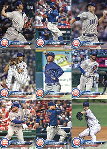 2018 Topps Series 2 Baseball Chicago Cubs Team Set of 15 Cards: Addison Russell(#384), Ben Zobrist(#391), Chicago Cubs(#399), Victor Caratini(#422), Albert Almora(#432), Yu Darvish(#436), Carl Edwards Jr.(#487), Jen-Ho Tseng(#498), Kris Bryant(#500), Chicago Cubs(#529), Kyle Hendricks(#552), Dillon Maples(#572), Justin Wilson(#643), Jason Heyward(#691), Drew Smyly(#699)