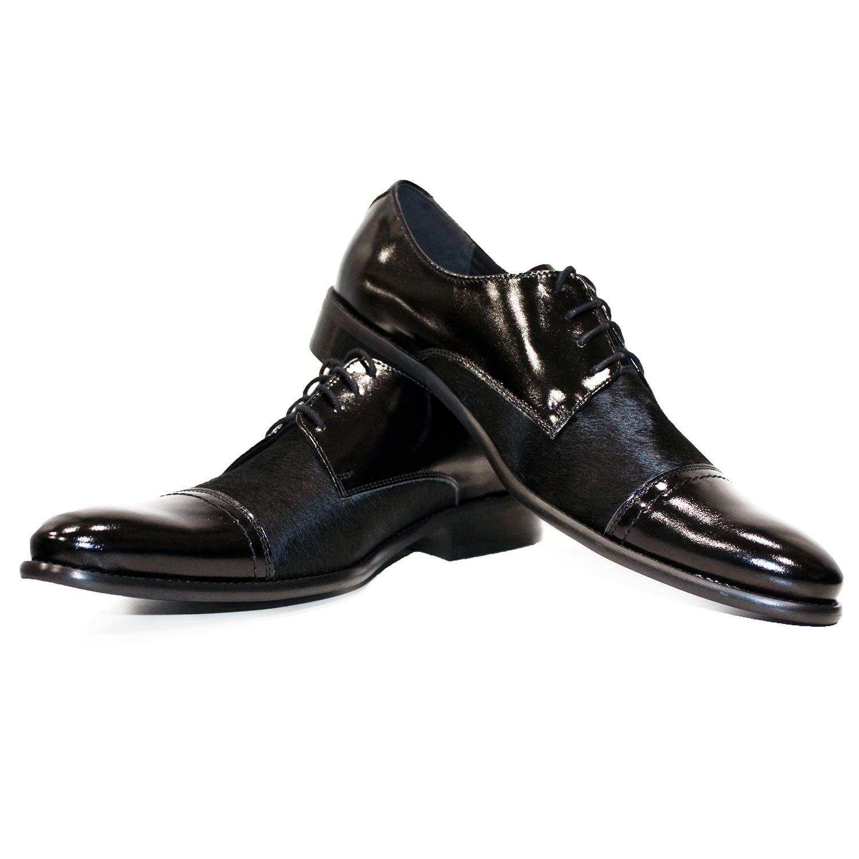 Modello Leder Messengo - Handgemachtes Italienisch Leder Modello Herren Schwarz Oxfords Abendschuhe Schnürhalbschuhe - Rindsleder Pferdehaar - Schnüren - 9d51ea