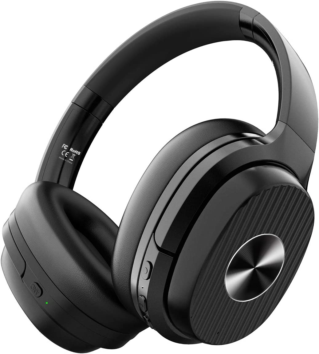 EKSA Bluetooth 5.0 ANC Over Ear Headphones, 60H Playtime Active Noise Cancelling Headsets with Mic and Hi-Fi Sound, Quick Charge, Wireless Headphones with Protein Earpads for Travel Airplane Laptop