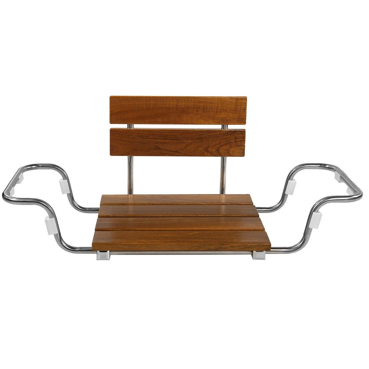 Clevr Adjustable Foldable Teak Wood Bathtub Seat Shower Bench, Waterproof Solid Teak Wood Modern Chrome, Width Adjustable to Fit Most Bathtub, Foldable Removable for Easy Storage