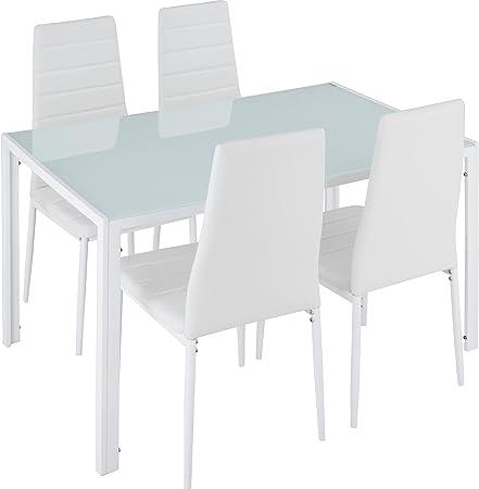 Este elegante conjunto de mobiliario de mesa y sillas de comedor aúna sobriedad y refinamiento graci