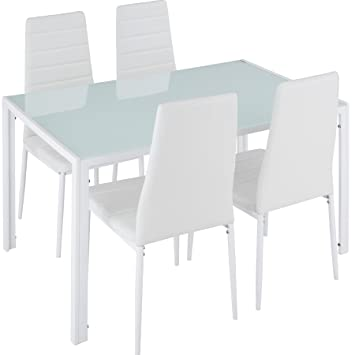 TecTake Conjunto de Mesa y 4 sillas de Comedor | Alto Grado de ...