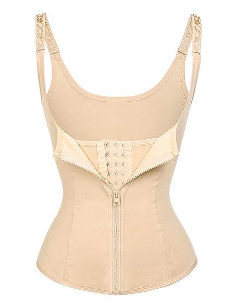 78c0be01c61 FeelinGirl Women s Waist Cincher Healthy Cloth Steel Boned Underbust Vest  with Zip Hook Straps Workout
