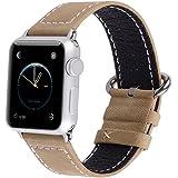 Apple Watch Bracelet, Fullmosa 42mm Bracelet en Cuir de Veau avec Fermoir en Acier Inoxydable pour Apple Watch Series 1 Series 2, Kaki