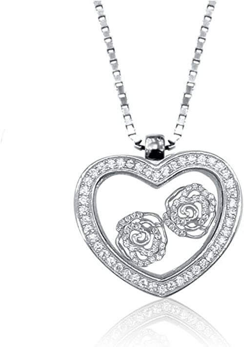 Floater Heart Pendant Necklace with Cubic Zirconia in Sterling Silver