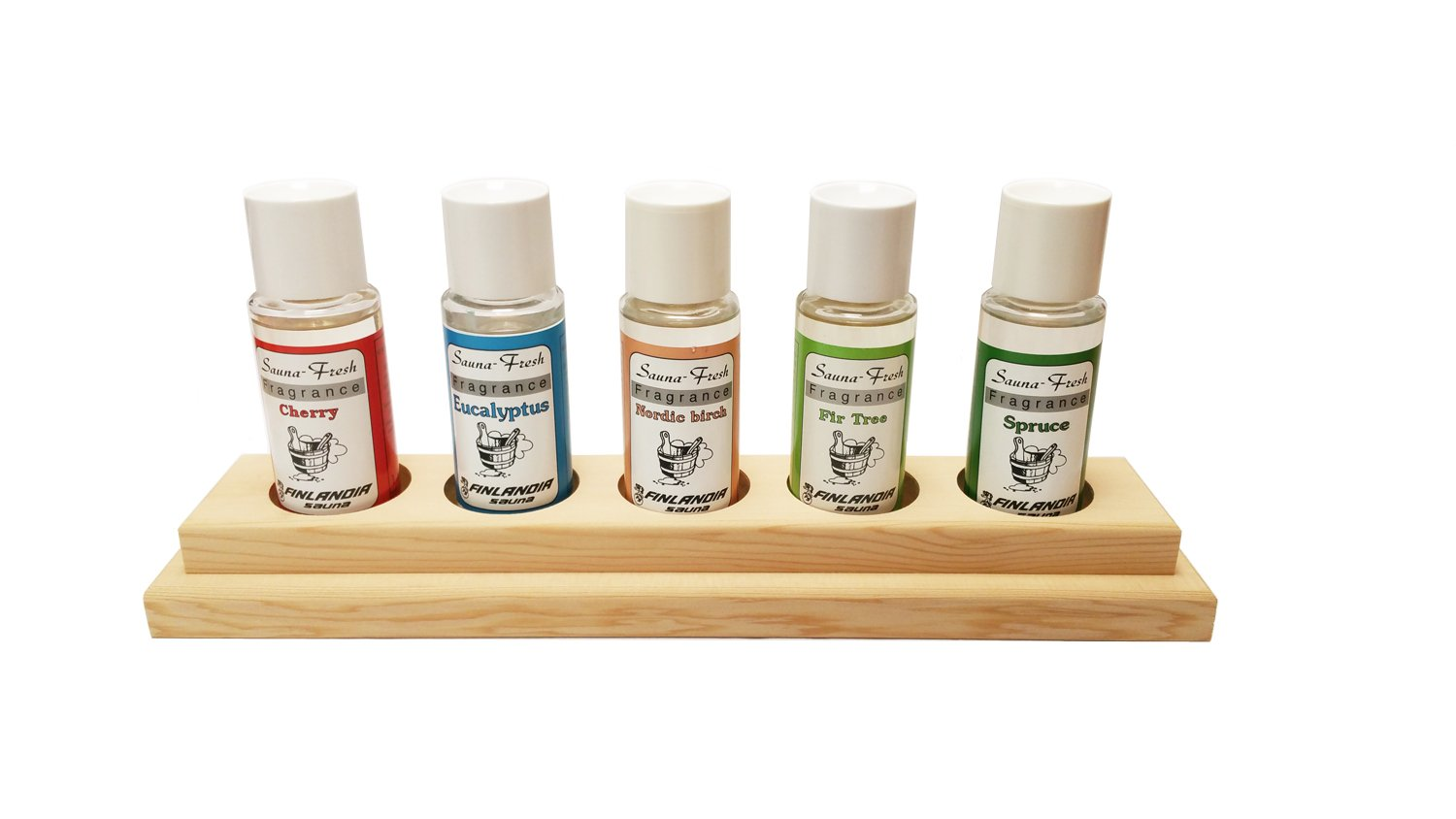 finlandia Sauna Fresh Aroma 5 pack with Cedar Holder, 1.8oz pure essence oil each by finlandia