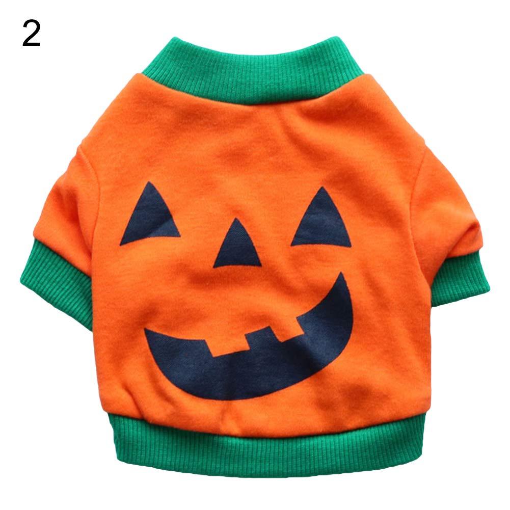 Halloween Pet Dog Puppy Laugh Face Costume Bulldog Cotton Vest T-shirt Clothes - 2# S