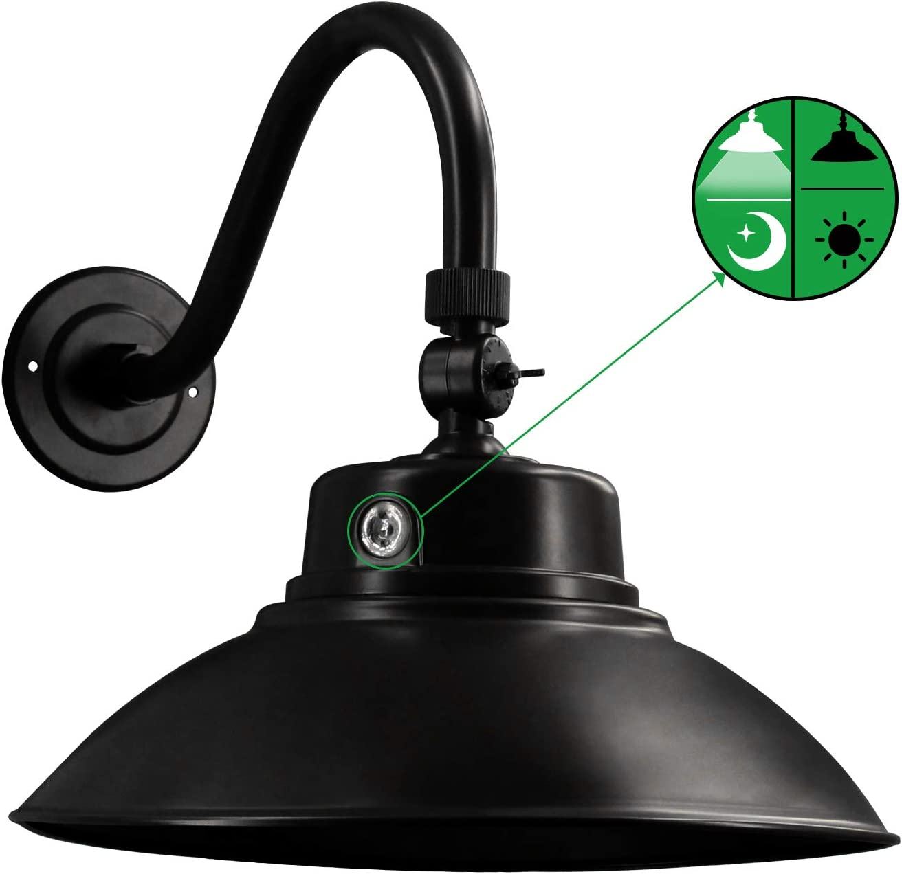 Black LED Gooseneck Barn Light 14 Inch Dusk to Dawn Sensor Classic Steel Shade 42W 4200lm 6000K Wall Porch Light with Photocell Outdoor Gooseneck Farmhouse Lighting Fixture