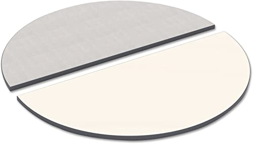 Alera TTHR48WG Reversible Laminate Table Top, Half Round, 48w X 24d, White Gray