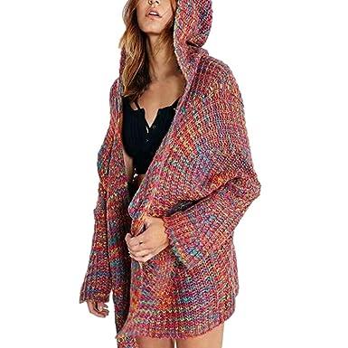 Goosuny Frauen Bunte Strickjacke Winter Langarm Heavy Kapuzen Strickmantel  Mit Taschen Pullover Hoodie Warme Strick Cardigan 0ff0048d68