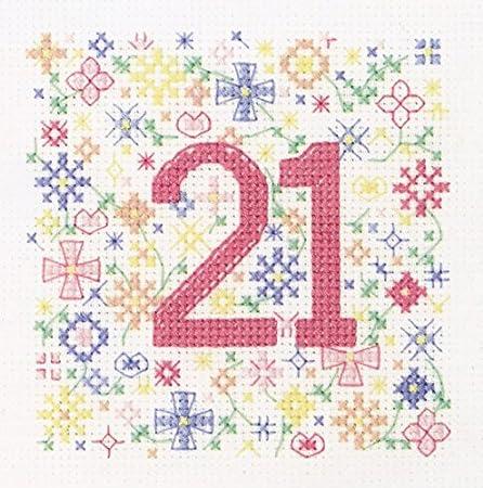 21st Birthday Blue Cross Stitch Card Kit by Florashell