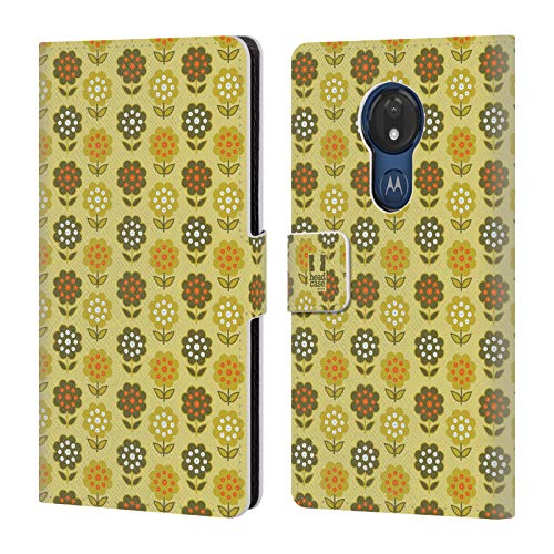 Head Case Designs Chartreuse Flower Trees Bohemian Patterns Leather Book Wallet Case Cover Compatible for Motorola Moto G7 Power