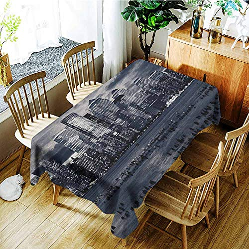 XXANS Outdoor Tablecloth Rectangular,City,Dramatic View of New York Skyline from Jersey Side Clouds Buildings,High-end Durable Creative Home,W52x70L Charcoal Grey Black White -