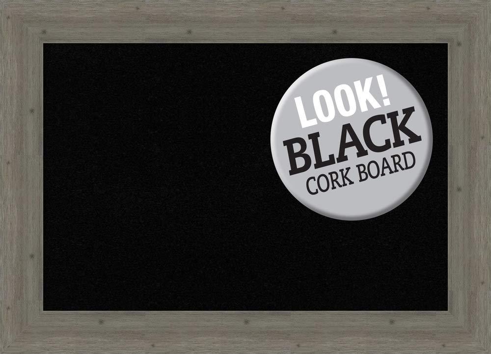 Amanti Art Framed Black Cork Board Bulletin Board   Black Cork Boards Fencepost Grey Frame   Framed Bulletin Boards   43.00 x 31.00