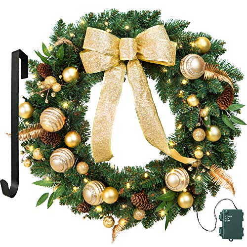 24 Inch Elegant Holiday Wreath With Gold Bow,Ornaments & Berries, 50 Battery Operated LED Lights and Christmas Hanger