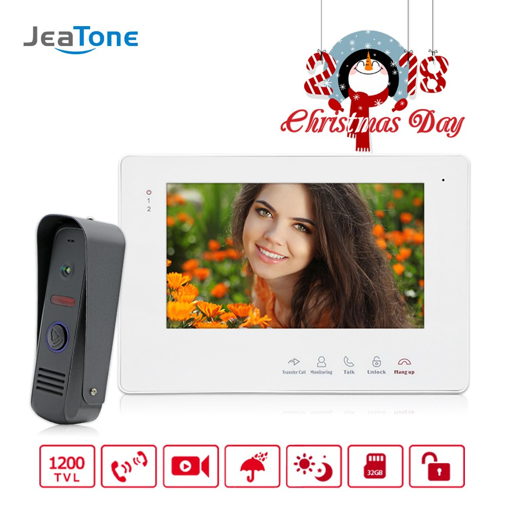Jeatone 7 Inch TFT Video Door Phone Doorbell Intercom System Night Vision Wired 1 Monitor 1 Camera by Jeatone