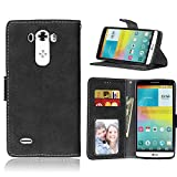 "LG G3(5.5"")case,D852/D850/D851/D855 case,Bujing Black Pattern,Premium Nubuck Synthetic Leather+Soft TPU Card Slot Stand Wallet Case Only For LG G3(5.5"")(2014)"