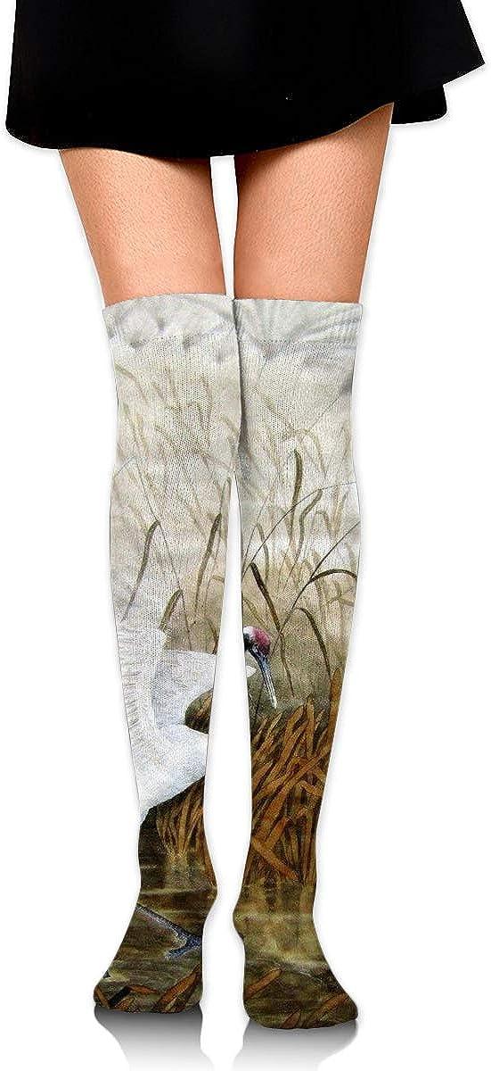 High Elasticity Girl Cotton Knee High Socks Uniform Countryside White Crane Women Tube Socks