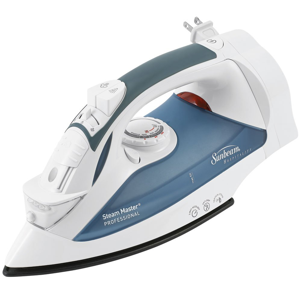 Sunbeam 4274-200 GreenSense SteamMaster Full Size Professional Iron with Retractable Cord and ClearView, White