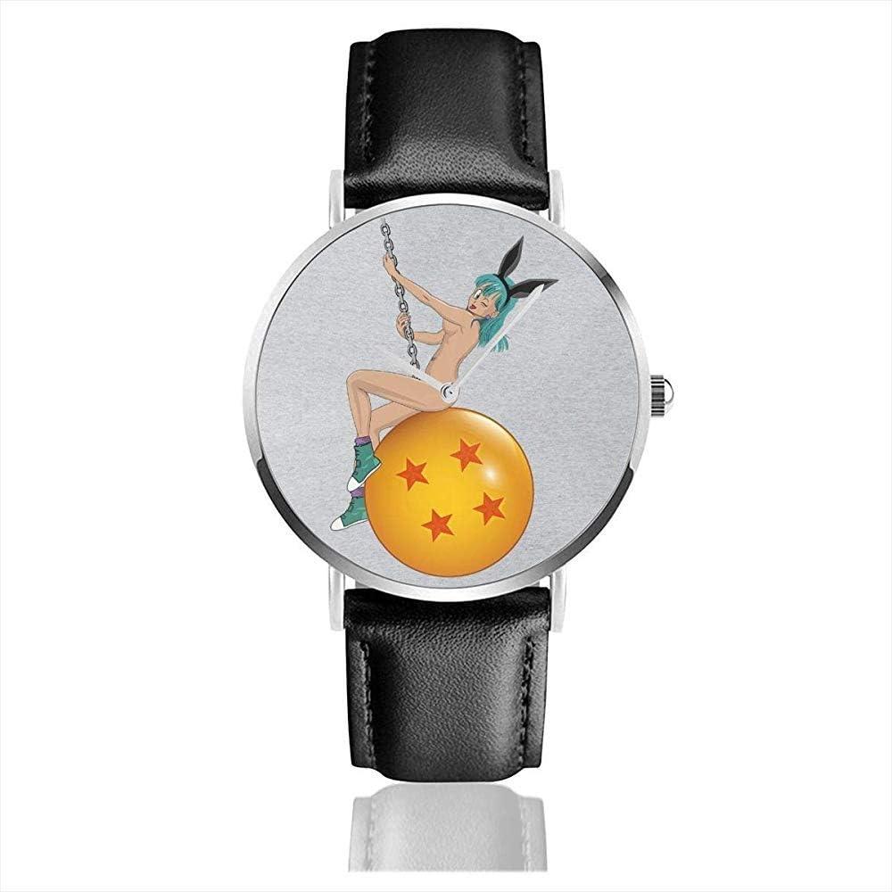 Unisex Bunny Ball Bulma Dragon Ball Z Desnudo Relojes Reloj de Cuero de Cuarzo con Correa de Cuero Negro