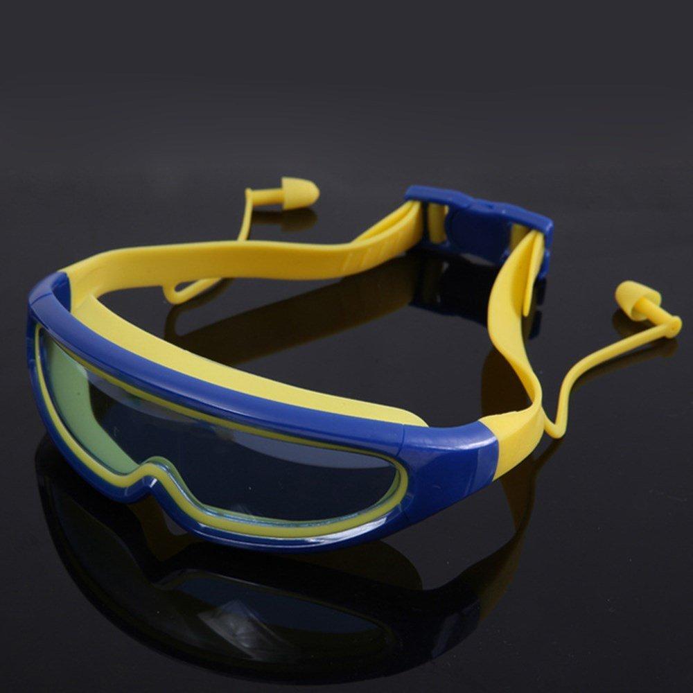Farity-p Beschlagfreie Brille - Schwimmen fü r Kinder Big Frame Schwimmbrille, Nebel Nachweis Schwimmen Brille, verknü pfte Ohrstö psel fü r Kinder, Blau