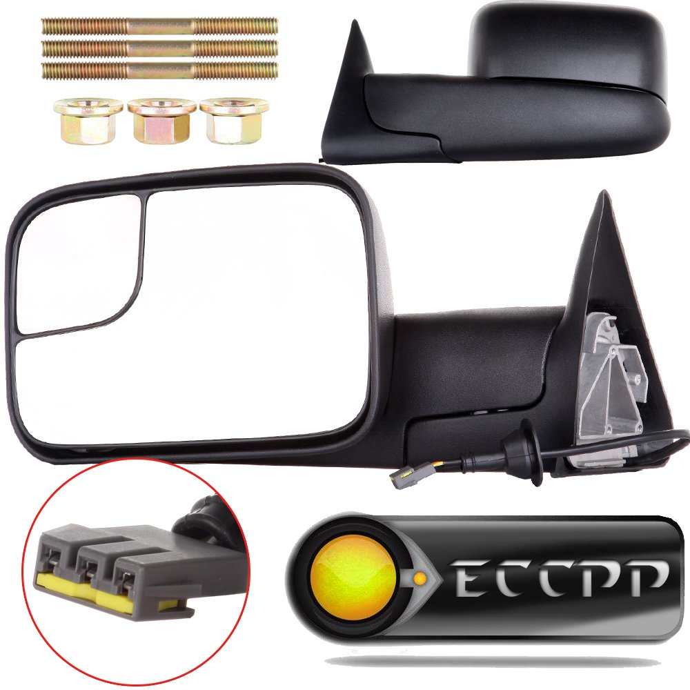 ECCPP Towing Mirrors Dodge Ram Tow Mirrors Pair Power Operation Manual Folding For 1994-1997 Dodge Ram 1500 2500 3500 Truck 1994 1995 1996 1997 ECCPP050489