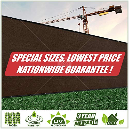 ColourTree Customized Size Fence Screen Privacy Screen Brown 3' x 60' - Commercial Grade 170 GSM - Heavy Duty - 3 Years Warranty