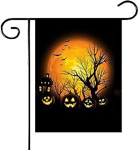 PINCHUANG Halloween Pumpkin Garden Flag, Double-Sided Yard Pumpkin Burlap Banner for Halloween Indoor & Outdoor Decoration(Not Include a Flag Pole)