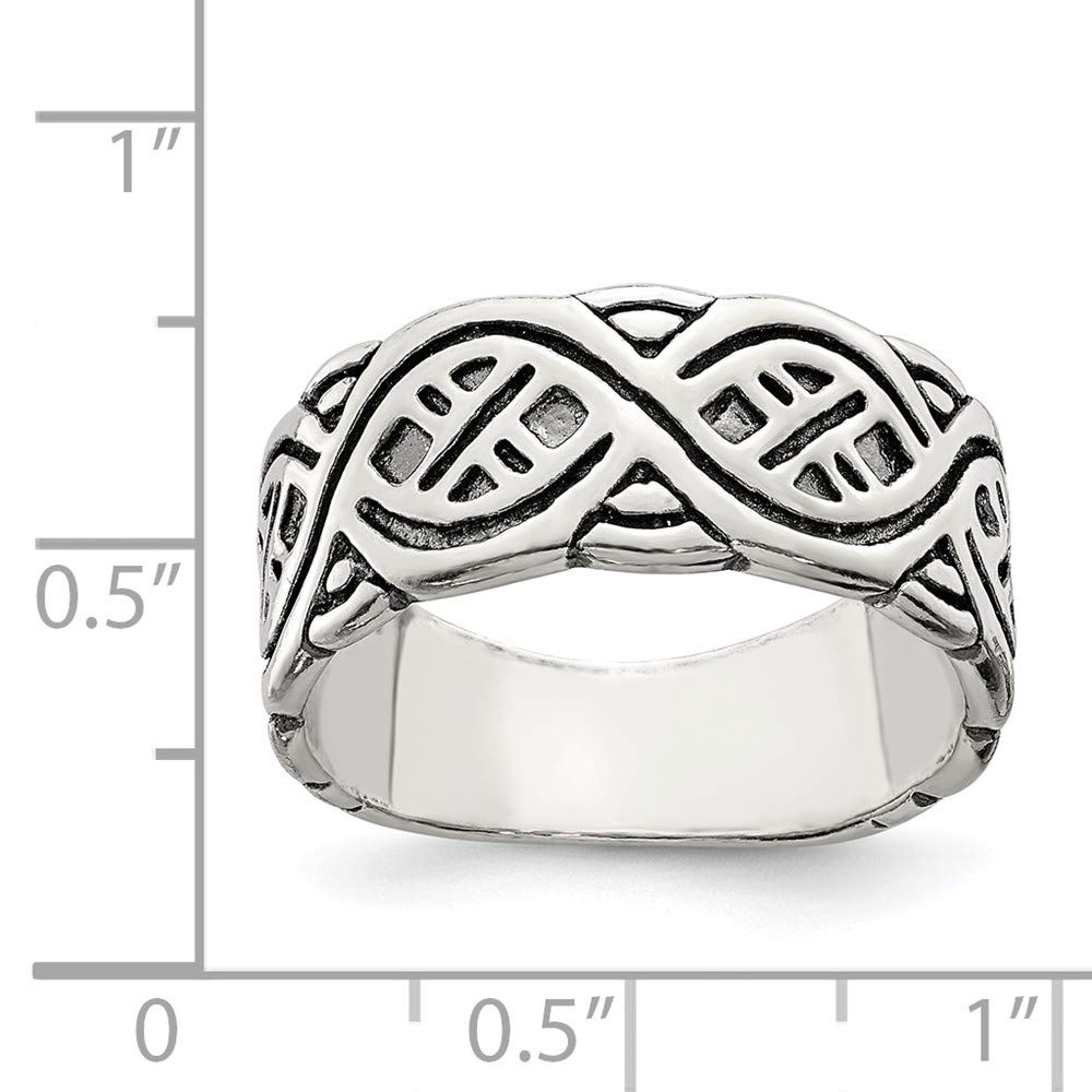 Solid 925 Sterling Silver Fancy Antiqued-Style Wedding Band 8mm