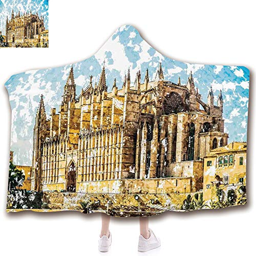 Fashion Blanket Ancient China Decorations Blanket Wearable Hooded Blanket,Unisex Swaddle Blankets for Babies Newborn by,Sea Shore Cathedral of Palma De Mallorca View ,Adult Style Children Style