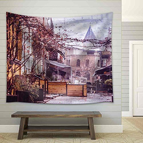 View of Tbilisi Old Town Sololaki in Winter While Snow Toned Picture Fabric Wall