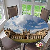 Luxury Round Table Cloth for Home use The New Court st John s College at Cambridge University Cambridge UK for Buffet Table, Holiday Dinner 31.5''-35.5'' Round (Elastic Edge)