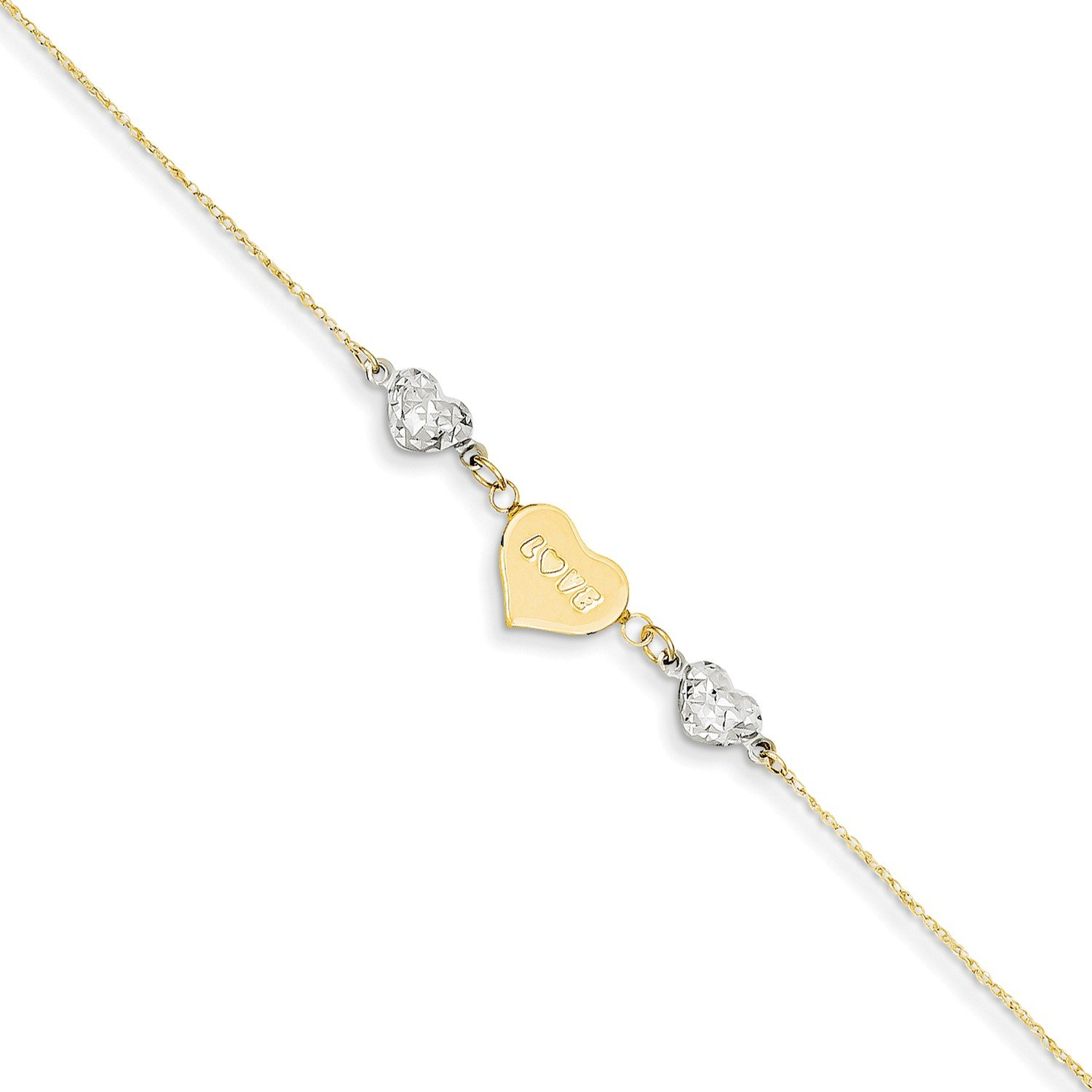 Roy Rose Jewelry 14K Two-tone Gold Diamond-cut Puffed Heart LOVE w/ 1'' extension Anklet ~ Length 9'' inches