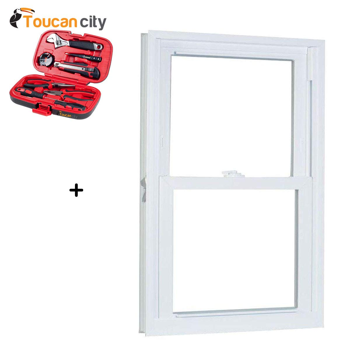 Toucan City Tool Kit (9-Piece) and American Craftsman 23.75 in. x 57.25 in. 70 Series Pro Double Hung White Vinyl Window with Buck Frame 2458786