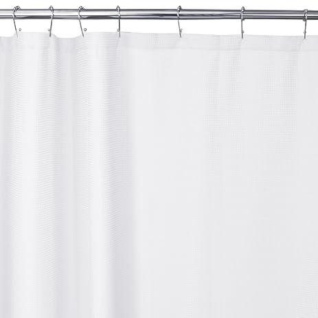 Amazon.com: Maytex Textured Waffle Fabric Shower Curtain, White ...